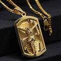 Cadena de oro Para Los Hombres Pieza Jesus Jesús Crucifijo de Acero Inoxidable Chapado En Oro Fino de Moda Hombre Collar de La Joyería Al Por Mayor
