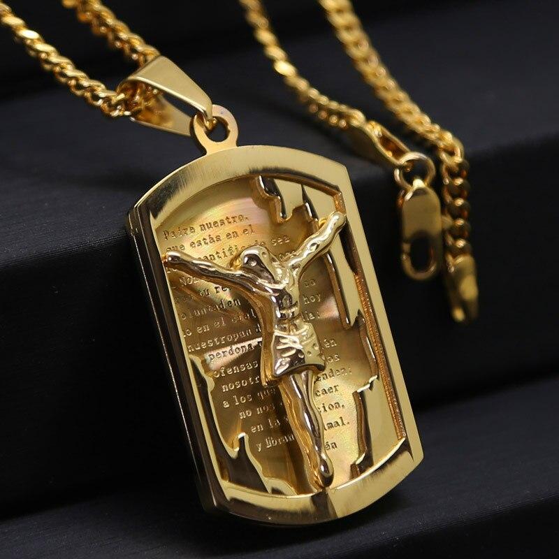 Mens 316L Acero inoxidable Jesús y Cruz colgante pedazo moda oro amarillo lleno Cristo crucifijo collar hombres Christian joyas