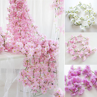 200cm Silk Sakura Cherry Rattan Wedding Arch decoration Vine Artificial flowers Home party decor Ivy wall Hanging Garland Wreath