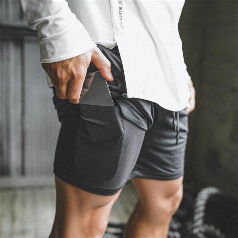 Mens 2 In 1 Fitness Gyms Shorts Men Sports Shorts Camouflage Quick Drying Security Pockets Training Joggers Short Pants