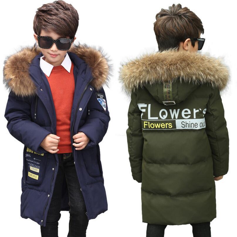 -35 Degree Russian winter Children white Duck Down Jackets parkas casual boys long down coats quality girls down outwear 5-12Y недорго, оригинальная цена