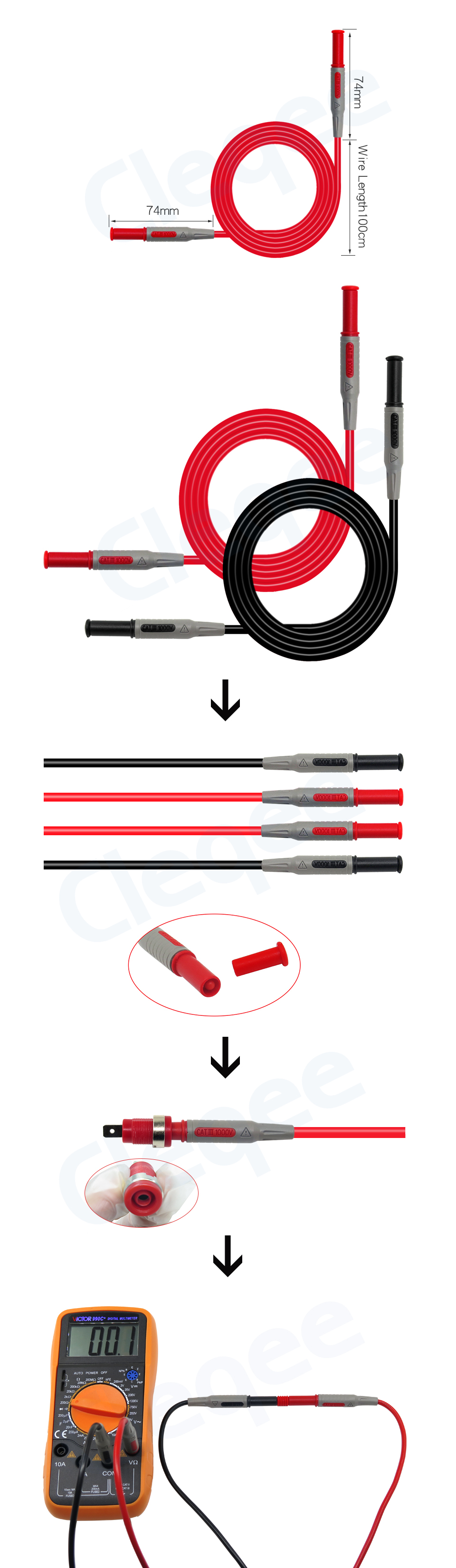 P5006 2X Banana Socket Plug Test Lead Single Hook Clip For Electric Testing