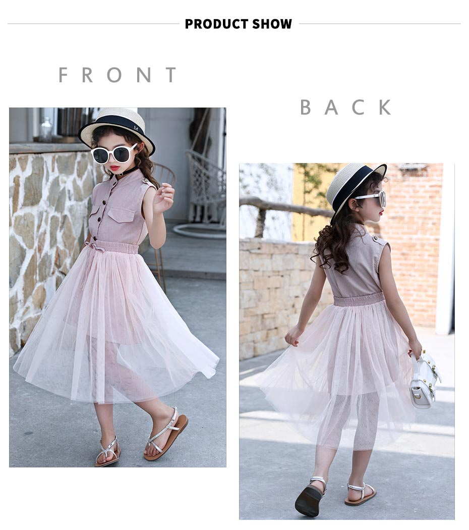 HTB1vcKFh13tHKVjSZSgq6x4QFXa9 - Kids Girls Clothes Set Solid Dress + Mesh Skirt Girl Summer Clothes Teenage Kids Children Clothing 6 8 10 12 13 14 Year