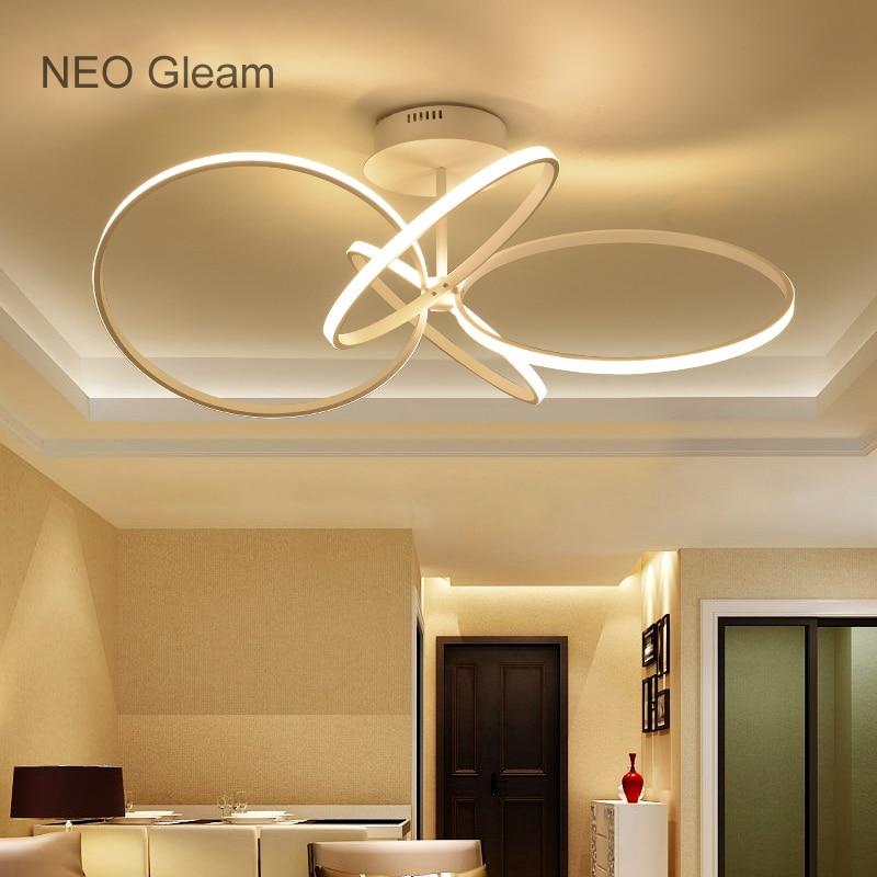 NEO Gleam Circel Rings LED Ceiling Chandelier For Living Study Room Bedroom Aluminum Modern Led Ceiling Chandelier Lamp Fixture