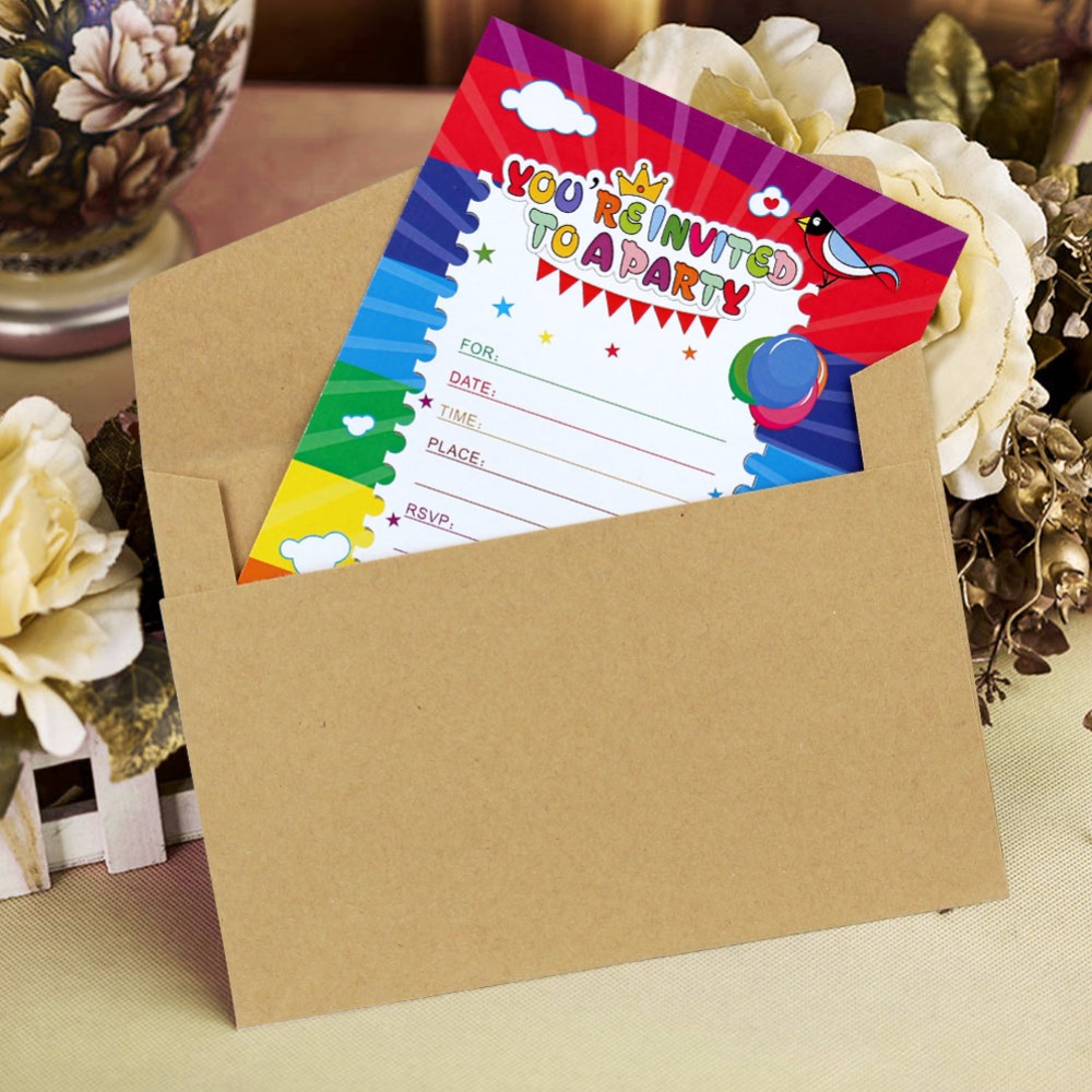 ourwarm 12pcs Paper Happy Birthday Card Blank Invitation Cards Party Kids with Envelopes Rainbow Greeting Gift Cards Supplier 1 design laser cut white elegant pattern west cowboy style vintage wedding invitations card kit blank paper printing invitation