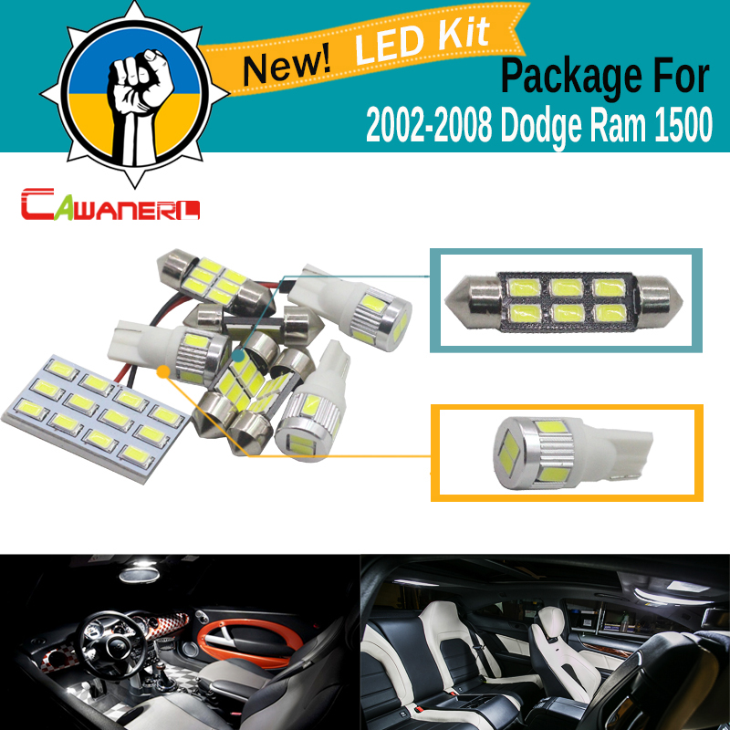 Cawanerl Car Interior Dome Map Trunk License Plate Light 5630 SMD LED Bulb LED Kit Package White For Dodge Ram 1500 2002-2008
