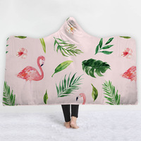 Flamingos Tropical Plant Printed Hooded Blanket Thick Warm Wearable Kids Hat Blanket Nap Travel Picnic Throw 130x150cm/150x200cm