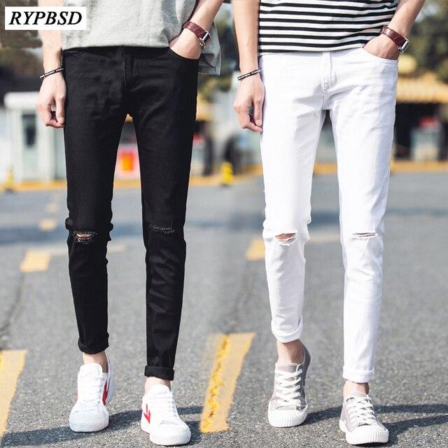 Noir Et Blanc De Mode Trou Déchiré Jeans Hommes 2019 Printemps