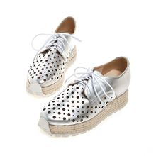 Silver/White/Pink/Black Cutout Lace Up Women Casual Shoes Low Heels Breathable Fashion Shoes  Plus Size EU34-43