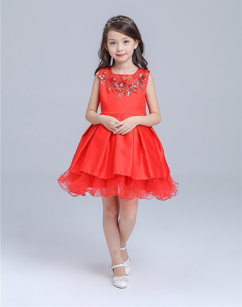 Christmas dress girls - Aliexpress Com Buy Sweet Girl Christmas Dress 2017 New Girls Red Flower Pearl Sleeveless Party Christmas Vestidos Mujer Kids Clothes Summer Dress From