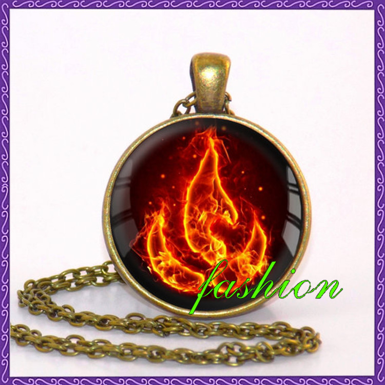 Avatar the Last Airbender Fire Nation Necklace Jewelry Glass Pendant kids jewellery movie jewelry lucky amulet
