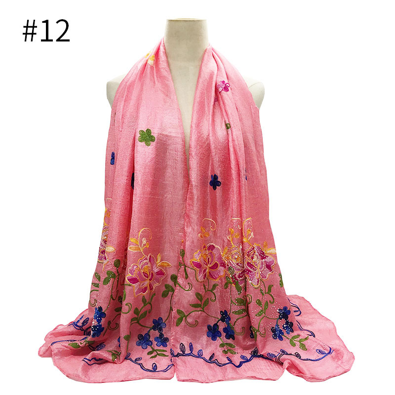 NEW Floral Embroidery Hijab Shawl Sarong Fashion Ladies Scarf Wrap Hijab Turban