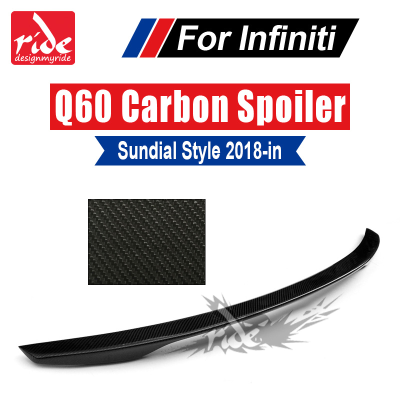 Q60 Rear Trunk Spoiler Tail Trunk Lid Boot Lip Wing Sundial Style Carbon Fiber For Infiniti