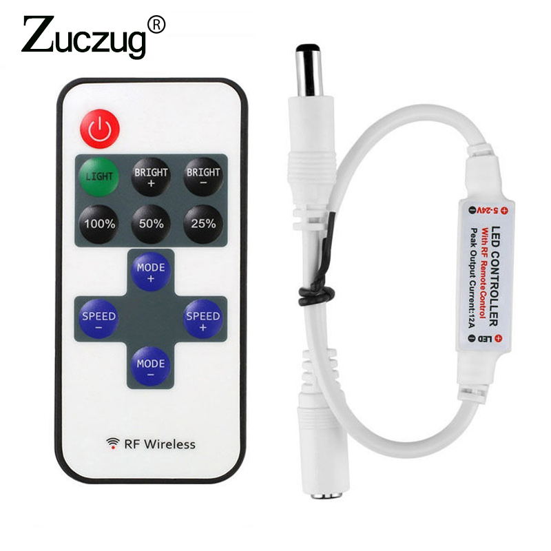 12 24 V 11 Keys RF LED Strip Controller Mini Dimmer RF Remote DC 5V 12V 24V Controller For LED 5050 2835 Strip Single Color