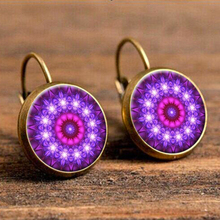Purple Kaleidoscope Flower Hanging Earrings Indian Handmade Resin Cabochon Yoga Ear Pendant Wholesale Indian Brincos Jewelry vintage kaleidoscope flower drop earring for women blue purple indian mandala pattern round eardrop wholesale brincos 2018