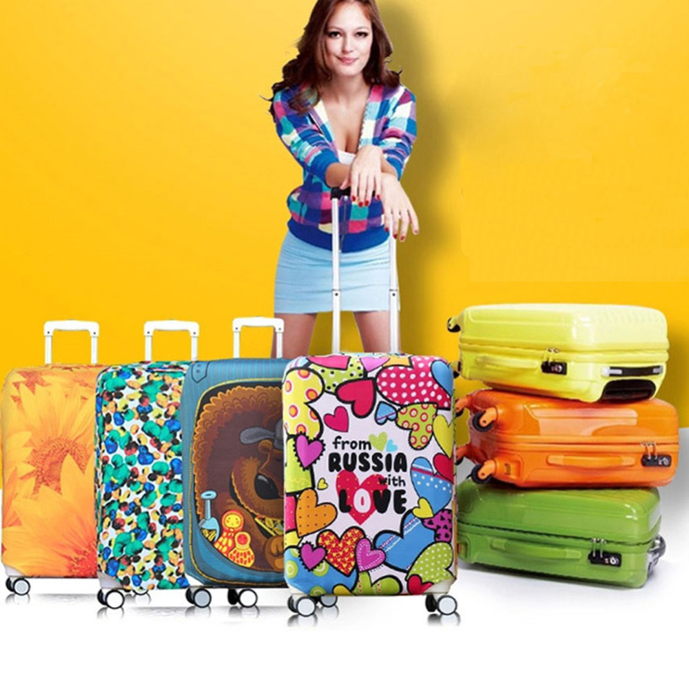 Elastic Luggage Cover Travel On Road Suitcase Cover Protector Printed Patchwork Protective Trunk Covers Apply to 18-32 inch Case