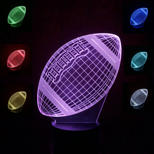 Novelty Lighting Desk Lamp Football Rugby Night Lights 3D Optical IllusionTable Lamps Colorful Touch Sensor Nightlight Luminaria