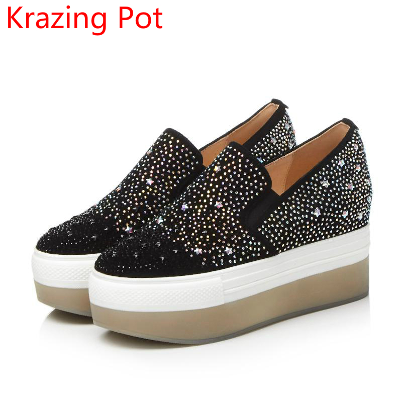 2017 Brand Autumn Shoes Genuine Leather Runway Wedges Sneaker High Heel Crystal Slip on Loafer Platform Women Casual Shoes L nayiduyun women genuine leather wedge high heel pumps platform creepers round toe slip on casual shoes boots wedge sneakers