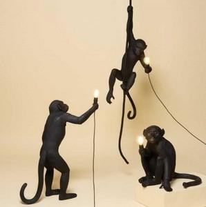 Image 5 - 現代の樹脂猿ロフトヴィンテージ麻ロープホームダイニングルームバーカフェレトロぶら下げ照明ランプぶら下げランプ
