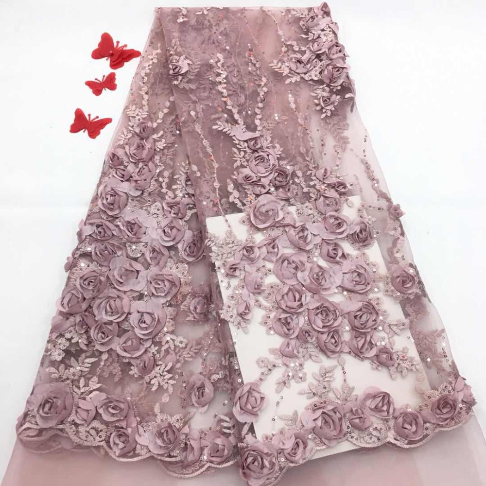 2018 Latest African Laces French tulle Lace Fabric High Quality Nigerian 3D Appliqued Wedding Lace Fabric2018 Latest African Laces French tulle Lace Fabric High Quality Nigerian 3D Appliqued Wedding Lace Fabric