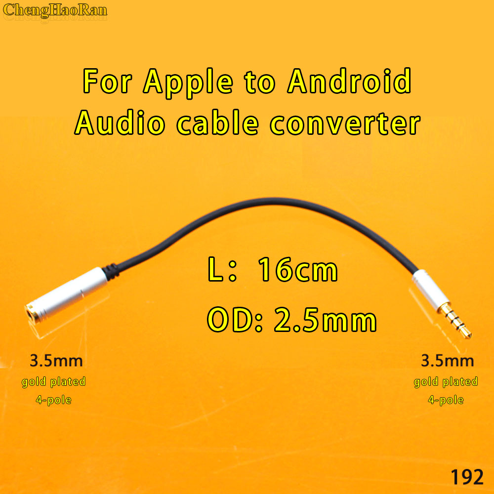 ChengHaoRan OMTP CTIA Converter 3.5mm 4pole Male To Female Jack Audio Cable For Apple Android Smart Phones Tablets Headphone Car