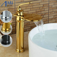 Big Waterfall Basin Faucets Bathroom Basin Sink Brass Mixer Tap Hot Cold Golden Polished Faucet Waterfall Mixer Bathroom Faucet