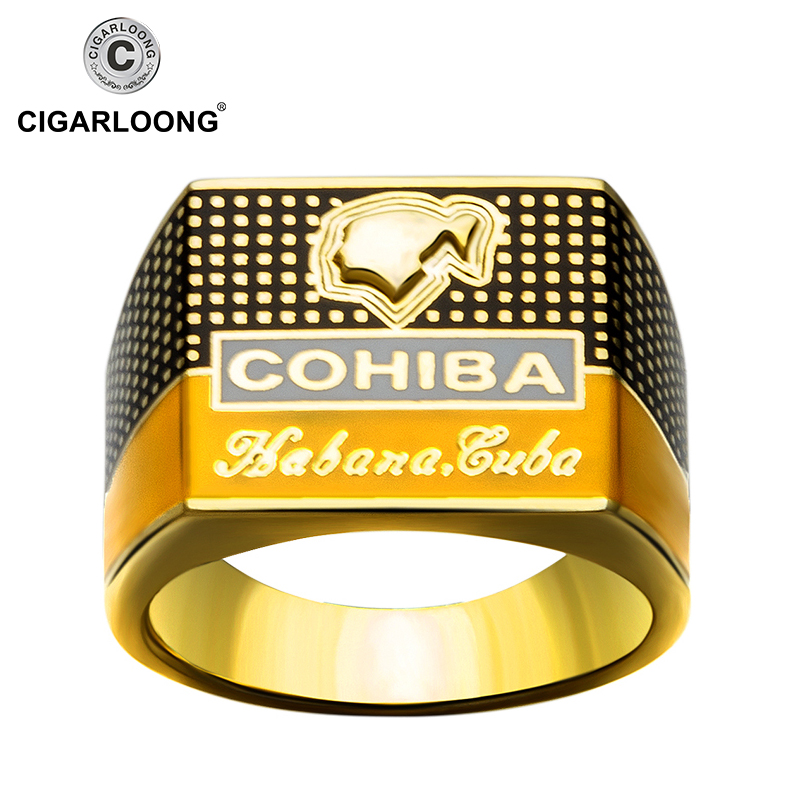 COHIBA Elegant Cigar Ring Gold-plated 925 Sterling Silver Ring Creative Jewelry CP-0031