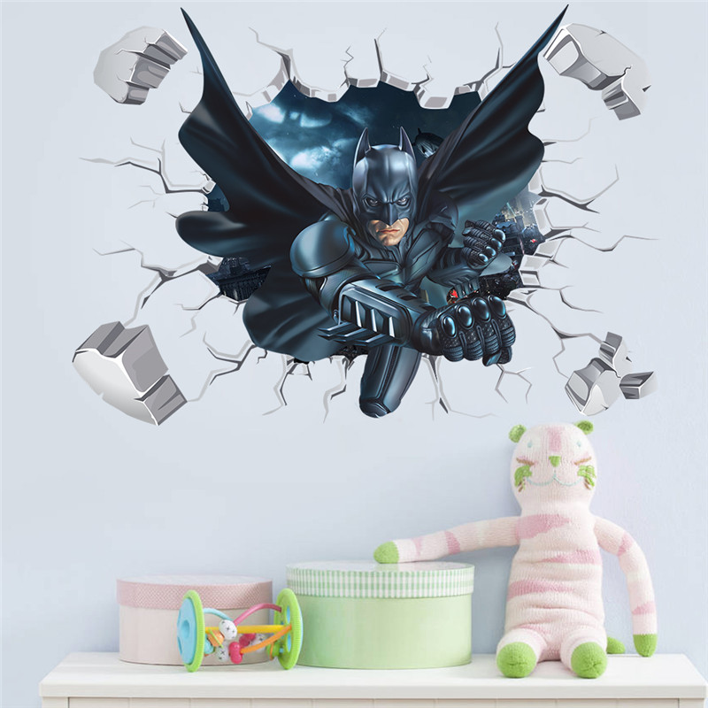 Cartoon Hero Broken Wall Batman Spiderman Wall Sticker For Kids