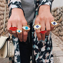 European and American New Rings Jewelry Ladies Street Shooting Trend Devil's Eye Ring Fashion Open Drop Oil Ring Female(China)