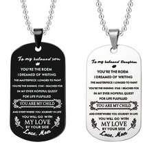 Stainless Steel jewelry To My Beloved Son and Daughter Engraved You Are The Poem dog tag Pendant Chain Necklace From Mom Gifts