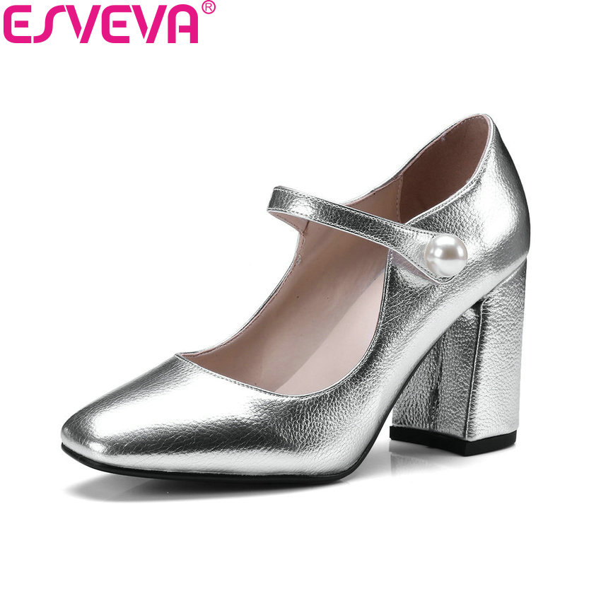 ESVEVA 2017 Women Pumps Buckle Spring Western Style Shoes Square Toe Square High Heels Patent Leather PU Wome Shoes Size 34-43 siketu free shipping spring and autumn high heels shoes career sex women shoes wedding shoes patent leather style pumps g017