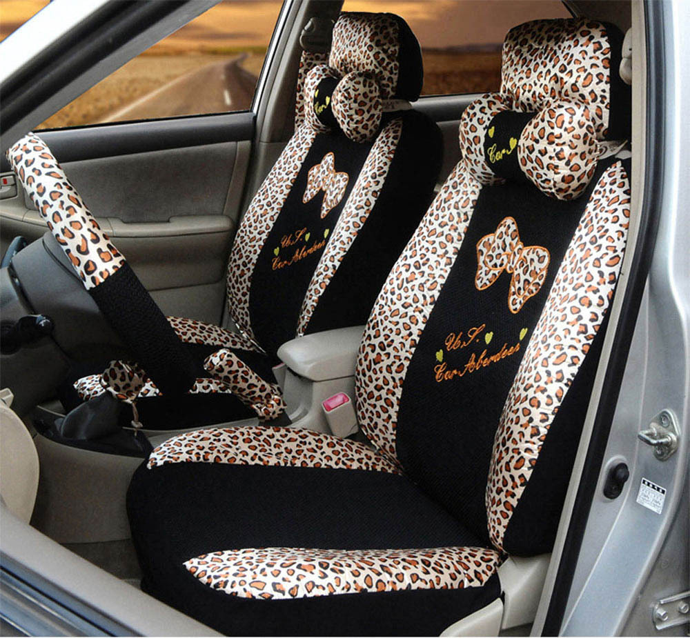 Phenomenal 18Pcs Summer Zebra Car Seat Covers Ice Silk Lace Leopard Alphanode Cool Chair Designs And Ideas Alphanodeonline