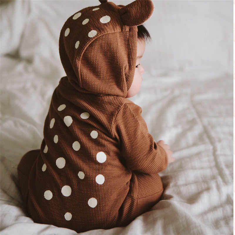 Baby Brown 3D Deer Romper Cottons Autumn 2018 Sika Deer Long Sleeve Girl  Boy Clothes Cute Winter Hooded Jumpsuit Baby