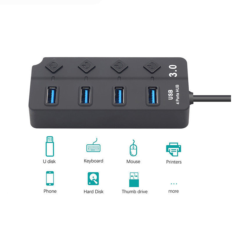 1m USB Hub 4/7 Port USB 3.0 Hub 5Gbps High Speed On/Off Switches AC Power Adapter For PC Computer Accessories enlarge