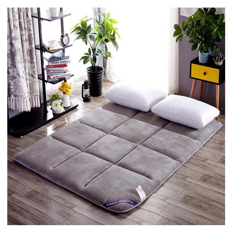 Folding Mattress Sleeping Bed Mat Non-slip Bedding Protection Pad Hotel Summer Soft Flannel Plus Material Floor Cushion Tatami