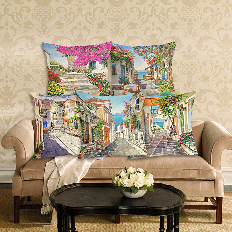 The Scenery Style 45 * 45 cm Vierkante Home Decoratieve Kussensloop Gedrukt Gooien Kussensloop Auto Interieur Kussenhoes