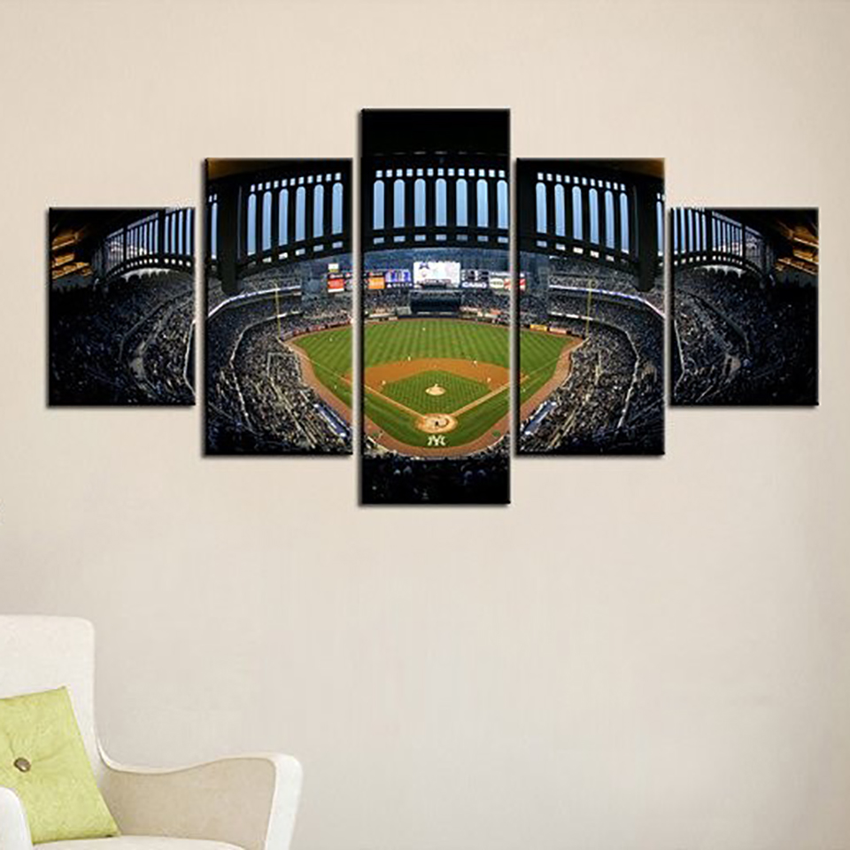 Frame Home Decor Room Poster Canvas Wall 5 Panel New York Yankees ...