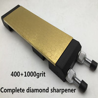 LEEPED Full Set Titanium Plating With Professional Kitchen Knife Sharpener Stone Diamond Whetstones 400/1000 grit
