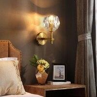Crystal Slaapkamer Lamp Wandlamp LED Wall Lampen Koperen Blaker Lampen Indoor Verlichting Woonkamer Naast Lampara Pared