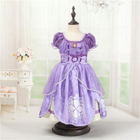 High Quality Sofia Princess Fluffy Dress Costume Princess Sophia Free Shopping Party Summer Baby Kids Weeding