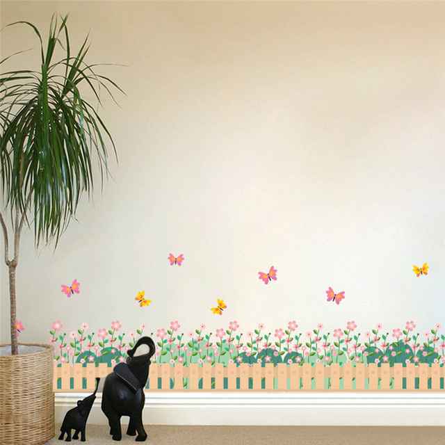 Garden Fence Flower Butterfly Wall Stickers For Kids Rooms Nursery Room  Window 3d Effect Home Decor