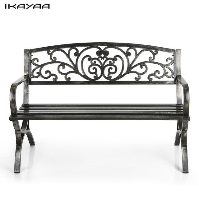 IKayaa 3 Seater Iron Patio Garden Park Bench Chair Metal Porch Yard Seating  Outdoor Furniture Antique