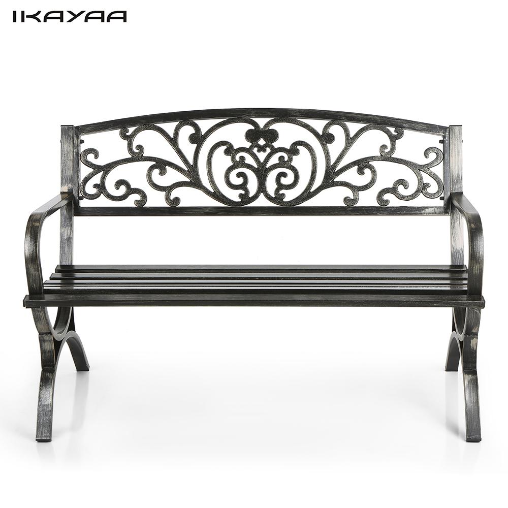 IKayaa 3 Seater Iron Patio Garden Park Bench Chair Metal Porch Yard Seating  Outdoor Furniture Antique Design US Stock