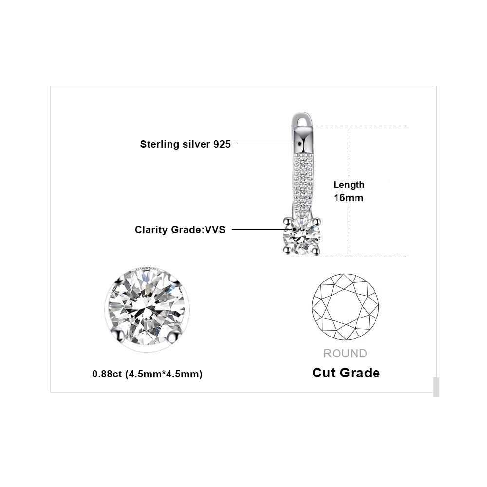 Sterling Silver Earrings 1ct Cubic Zirconia CZ Clip Earrings Fine Jewelry Anniversary Gifts For Women Fashion 4