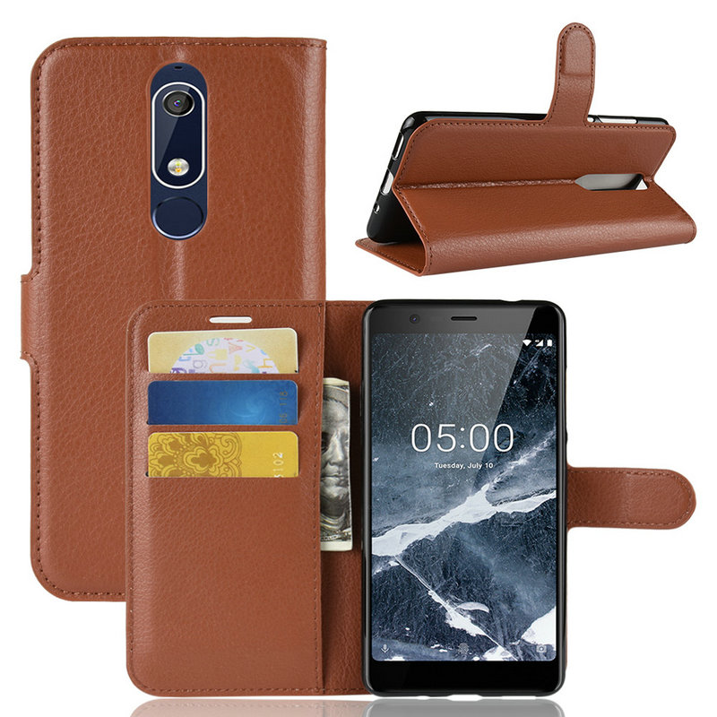 Flip Leather Case cover for <font><b>Nokia</b></font> 5.1 5 2018 TA-1061 for <font><b>Nokia</b></font> 5 TA-<font><b>1053</b></font> TA-1024 Phone Cover Wallet case with Stand image
