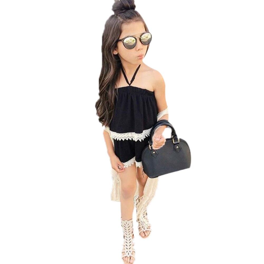 2 шт. Модная одежда для детей, Детская мода летняя одежда для девочек с открытыми плечами кружевной топ + комплект с короткими штанами Детска...