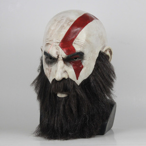 Image 2 - Game God Of War 4 Kratos Mask with Beard Cosplay Horror Latex Party Masks Helmet Halloween Scary Party Props