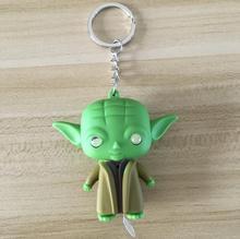 LED Flashlight Keychain Darth Vader Star War Yoda Keychains Anakin Skywalker Figure Key Ring Baby kids toys for children adults