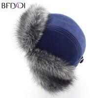 BFDADI Mężczyźni Zima Faux Fur Hat Bombowiec Kapelusz Futra Dla Mężczyzn Uszu Ochrona Cap Grube Ciepłe Gorące Rosyjski Czapka Zimowa Rozmiar 56 57 58 59 60 cm
