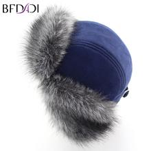 BFDADI Men Winter Faux Fur Hat Bomber Fur Hat For Men Ear Protect Cap Thick Warm